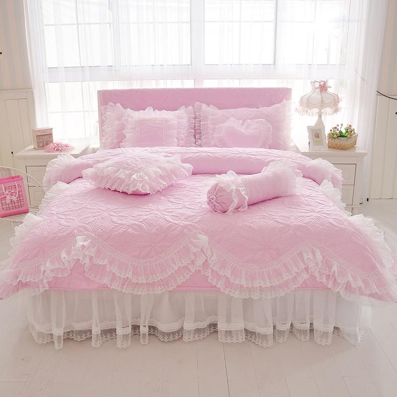 100% القطن سميكة مبطن الدانتيل طقم سرير الملك الملكة التوأم حجم طقم سرير الأميرة الكورية الفتيات الأبيض الوردي تنورة نوم مجموعة المخدة-في مجموعات الفراش من المنزل والحديقة على  مجموعة 1