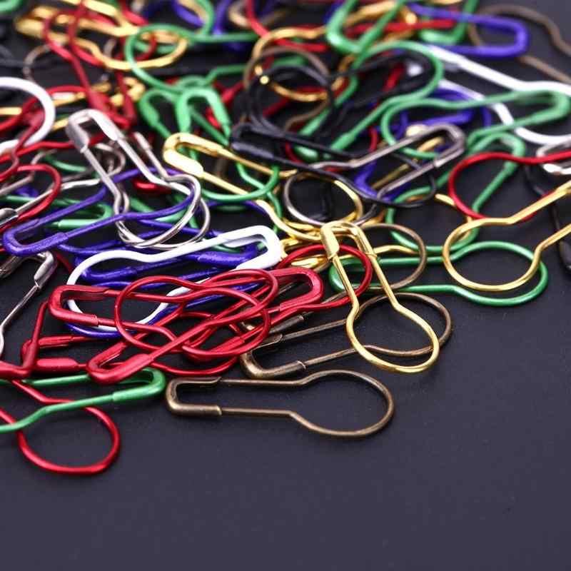 100 Pcs/Kotak Warna Campuran Safety Pins DIY Jahit Alat Safety Knitting Stitch Marker Tag Pin Labu Bentuk Klip Logam