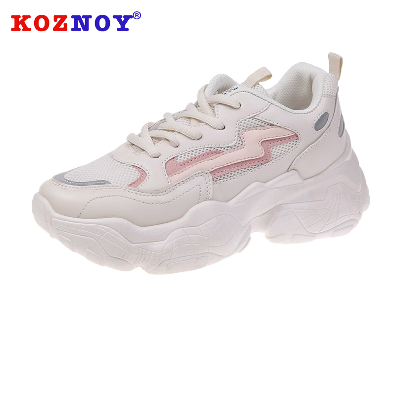 Koznoy Sneakers Women Spring Autumn Thick Bottom Dropshipping solid fashion Lace Round Toe Mesh Breathable Leisure Women Shoes in Women 39 s Vulcanize Shoes from Shoes