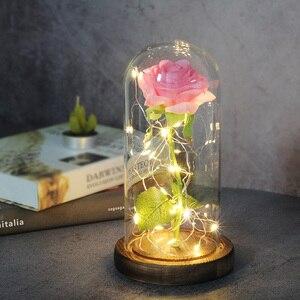 Image 4 - Bellezza artificiale e bestia fiore rosa In vetro cupola cintura lampada a LED decorazioni per la casa di natale per san valentino regalo di capodanno