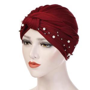 Image 5 - イスラム教徒の女性ビーズ弾性ターバン化学及血キャップヒジャーブアラブヘッドスカーフラップカバービーズスカーフプリーツキャップ髪損失