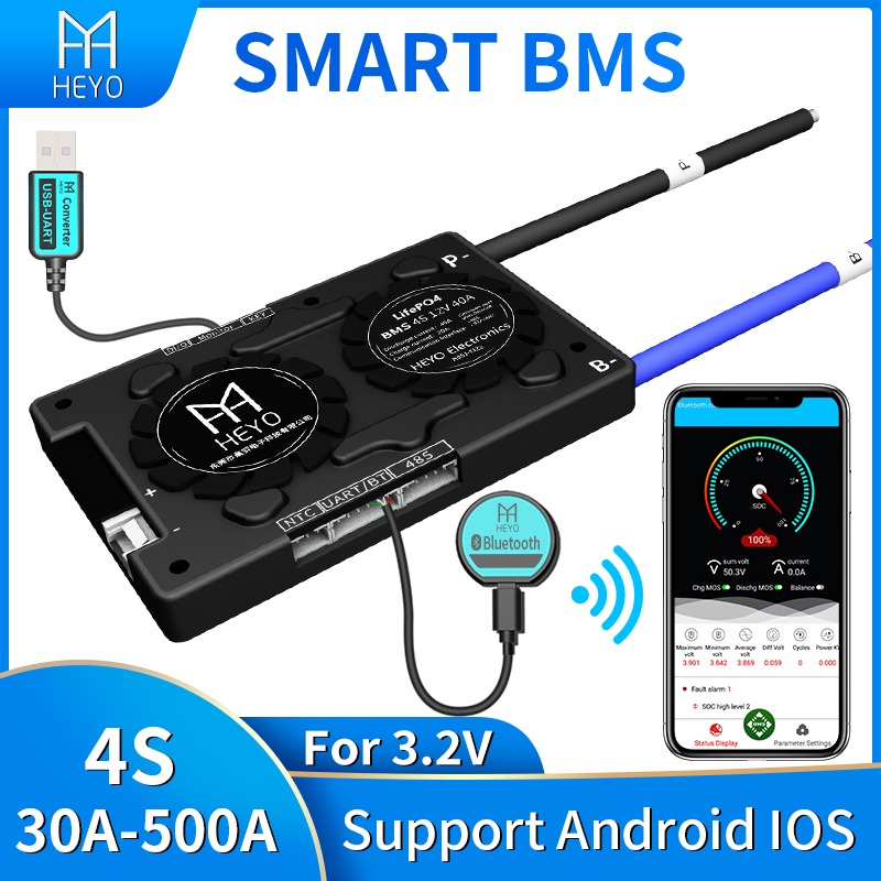 Smart bms Lifepo4 4s 100A 200a 30A 40A 60A for lithium battery pack rated 3.2V 12V with bluetooth UART usb to PC terminal Ntc