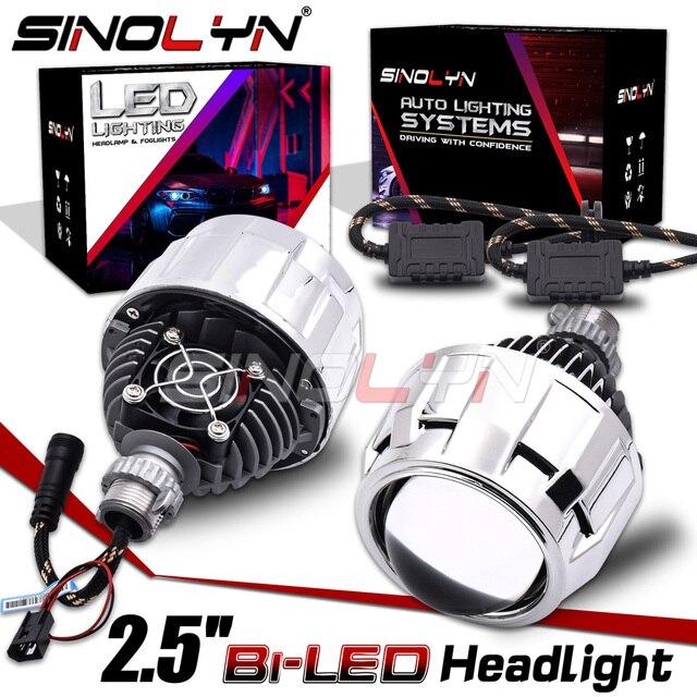 Sinolyn مصباح أمامي 2.5 بوصة ثنائي LED ، جهاز عرض عيون الملاك ، H4/H7/9005/9006 ، مصباح أمامي للسيارة ، مصباح ديود أوتوماتيكي ، ملحقات تحديث