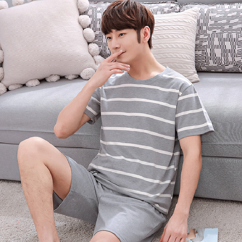 Casual Striped Cotton Pajama Sets For Men 2019 Summer Short Sleeve Sleepwear Male Pyjama Homme Homewear Lounge Wear Home Clothes