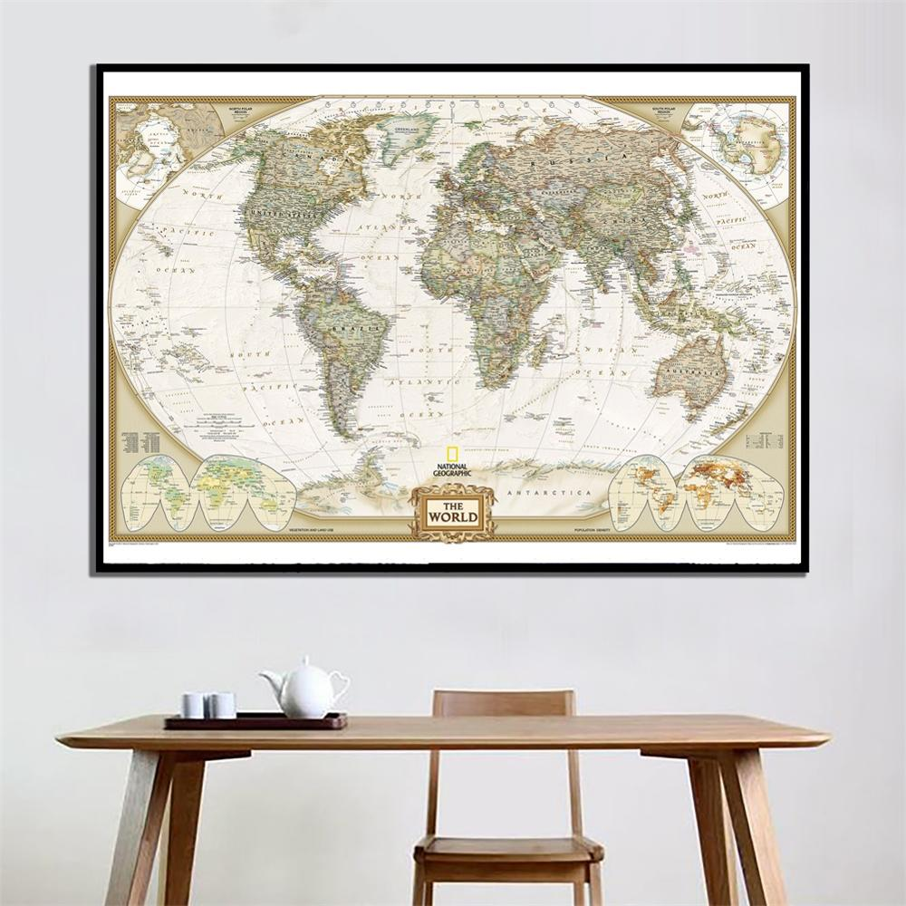 60x90cm The World HD Physical Map National Geographic Genuine Map For Living Room Wall Decoration