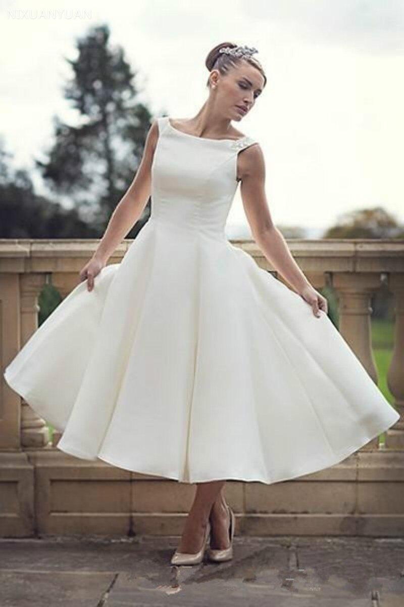 60s Vintage Short Tea Length Wedding Dresses Scoop Neck Ball Gown Satin Reception Women Second Wedding Bridal Gowns
