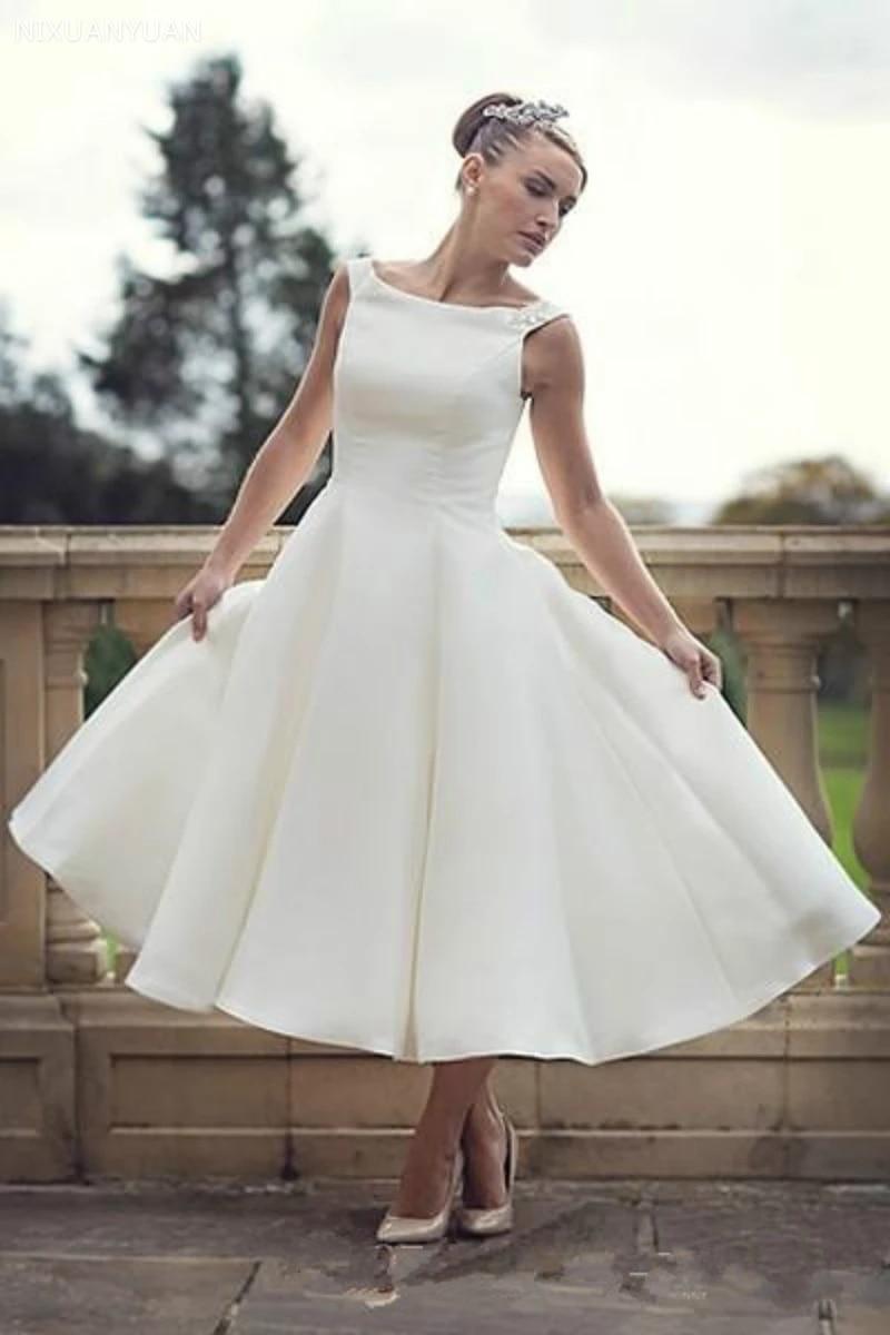 20s Vintage Short Tea Length Wedding Dresses Scoop Neck Ball Gown Satin  Reception Women Second Wedding Bridal Gowns