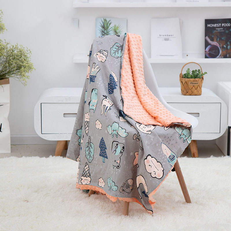 Baby Blanket 1PC Muslin Squares Swaddle Wrap Fiber Newborn Soft Cartoon Unicone Beanie Knitted Children's Blanket