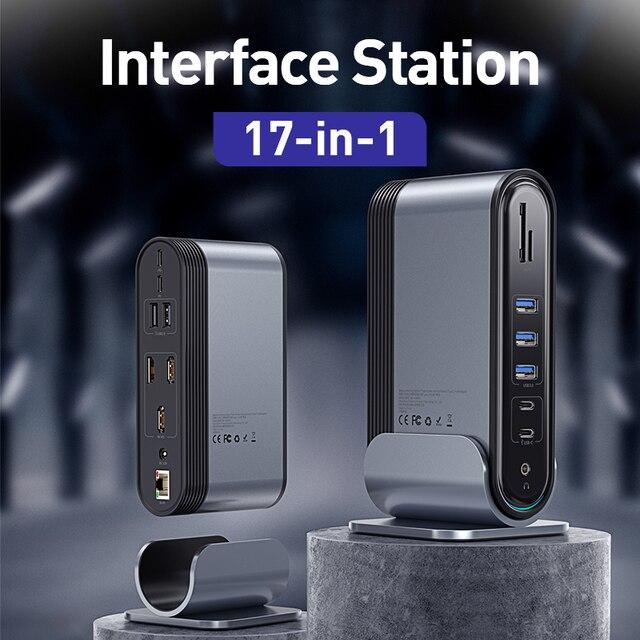 Baseus 17 w 1 USB C HUB typ C na Multi HDMI RJ45 VGA USB 3.0 2.0 z zasilaczem stacja dokująca dla MacBook Pro USB-C Hub