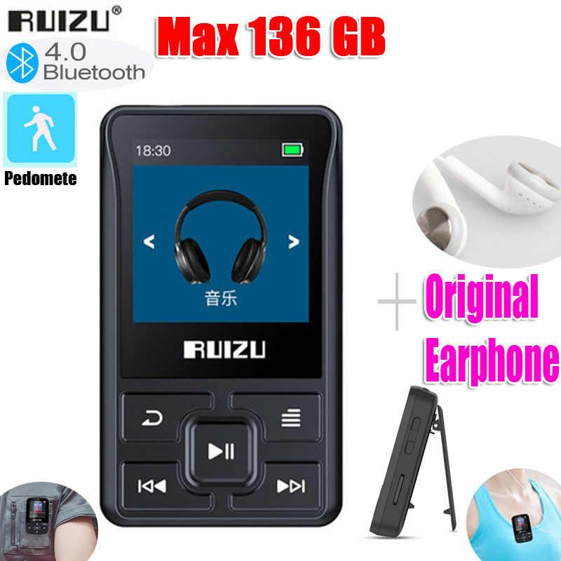 最新のオリジナル ruizu X55 スポーツ bluetooth MP3 プレーヤー 8 ギガバイトクリップミニスクリーン · サポート fm 、録音、電子書籍、時計、歩数計