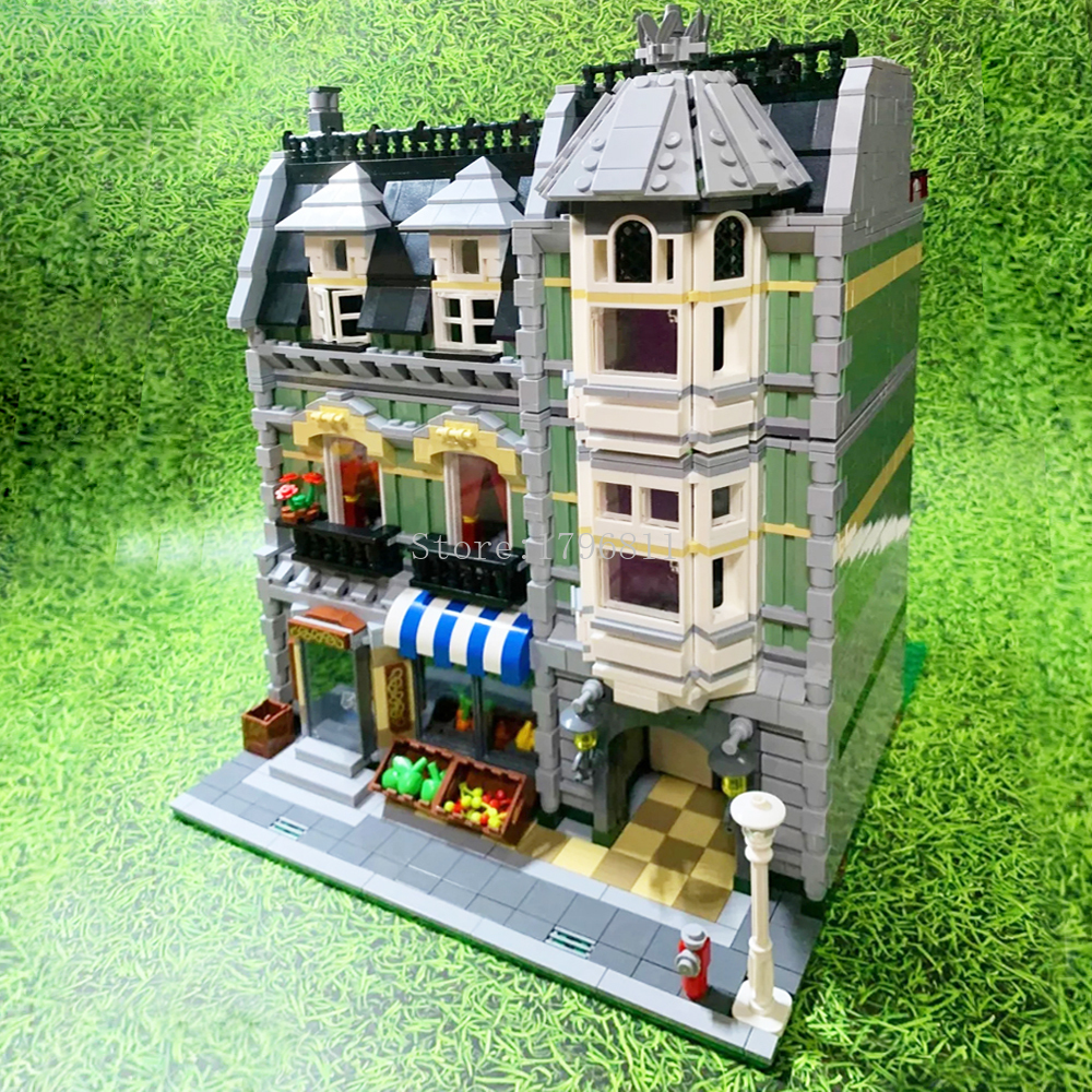 15008 2462pcs City Stree Green Grocer Model Set Building Blocks Bricks Children's Christmas Toys Compatible With 10185