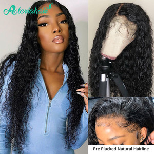 Asteria Hair Water Wave 13x6 Lace Frontal Human Hair Wigs For Black Women Pre Plucked Baby Hair Brazilian Lace Wigs Remy Hair(China)