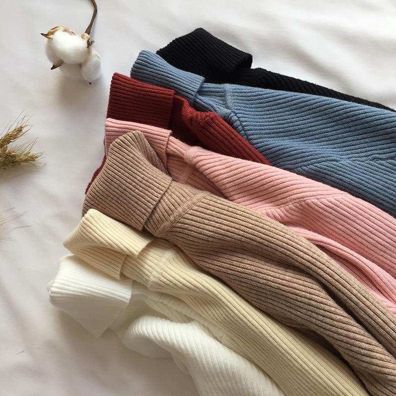 Suéteres marrones para mujer, vestido de punto verde, suéter de manga larga con cuello de tortuga, Jersey Delgado, Jersey suave y cálido para mujer 2020