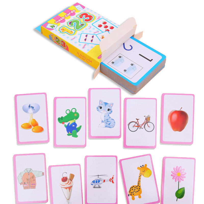 BalleenShiny 36Pcs Baby English Learning Word Card Toy Cognitive Flash Cards Baby Early Educational Toys Montessori For Kids