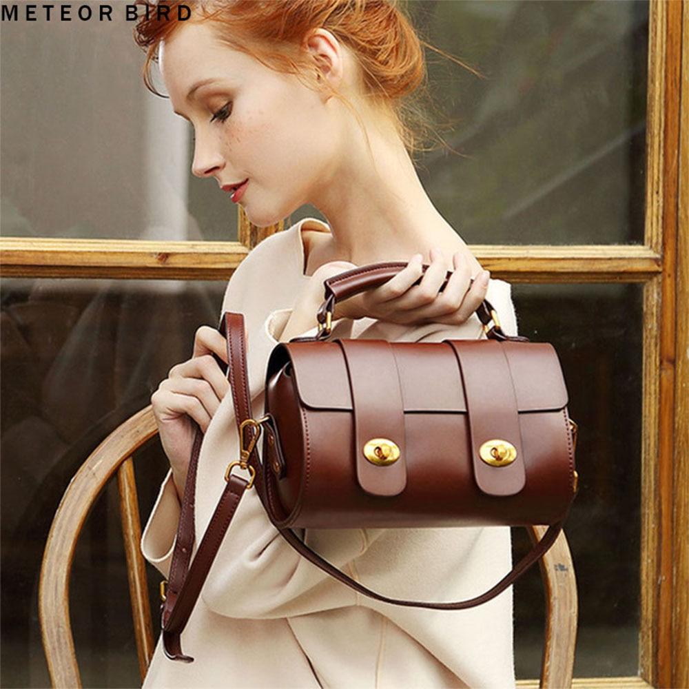 Ladies Brown Leather Luxury Handbags Women Designer Famous Brand Messenger Boston Bag Shoulder Crossbody Bags For Women