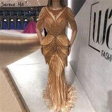 Gold Dubai O Neck Tassel Beading Evening Dresses 2020 Mermaid Half Sleeves Luxury Formal Dress Design LA70342