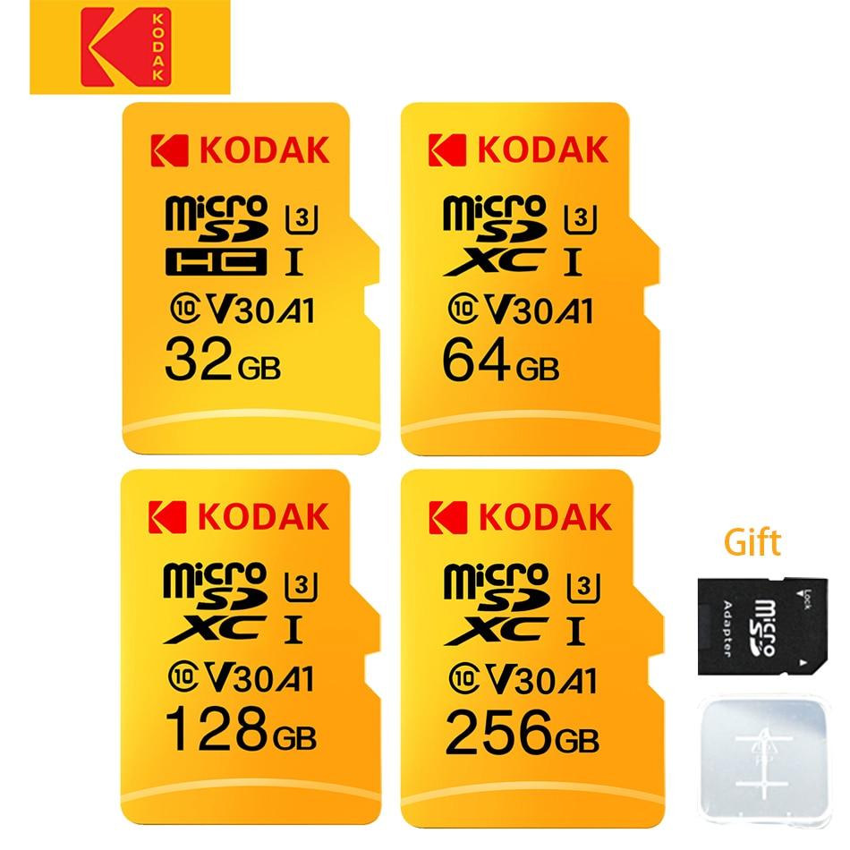 Original KODAK Micro-SD Card 256GB 128GB 64GB 32GB Memory Card TF Card V30 U3 100MB/S cartao de memoria Free SD Adapter for pc
