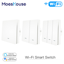 WiFi Smart Push Button Switch 2-Way RF433 Wall Panel Transmitter Kit Smart life Tuya App Control Works with Alexa Google Home