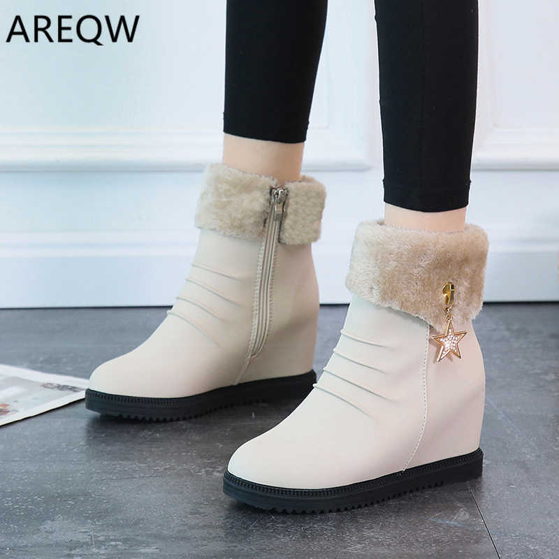 2020 Women Snow Boots Shoes Warm Short Fur Plush Winter Ankle Boots for Women Platform Ladies Boots Women Shoes Warm Black
