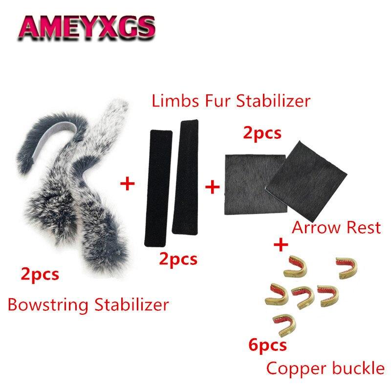 1Set Recurve Bogen Werkzeuge Bowstring Stabilisator + Pelz Geklebt Streifen Dämpfer + Pfeil Rest + Messing Schnalle Für Bogen jagd Zubehör