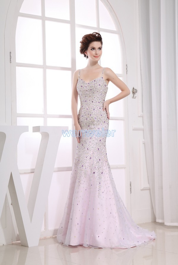 Free Shipping 2016 New Design Rhinestone Mermaid Custom Size/color Strap Crystal Hot Seller Brides Maid Sexy Long Prom Dresses