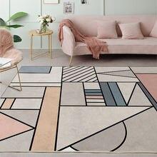 Стильный Серый Розовый дверной коврик с геометрическим узором