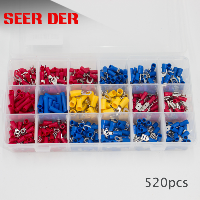 520pcs Full Insulated Fork U type Set Terminals Connectors Assortment Kit Electrical|Terminals|Home Improvement - title=
