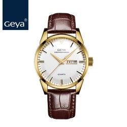 GEYA luksusowe marki wodoodporny złoty skórzany męski zegarek kwarcowy wykwintne brązowy na co dzień człowiek zegarek prezent