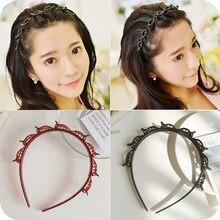 [Xwen] preto tranças franja hairpin hairband unisex hairdo multi-andares tecer bandana ferramenta de estilo acessórios para o cabelo oh2067