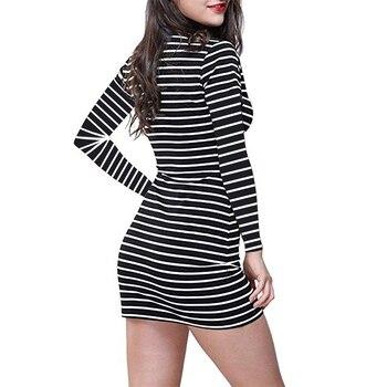 Summer Autumn winter Round Neck Kylie Jenner Striped long Short-sleeved Black And White Striped Casual Elegant Sheath Slim Dress