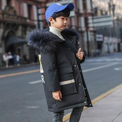 OLEKID 2020 Winter Down Jacket For Boys Real Raccoon Fur Hooded Long Boy Winter Parka 5-14 Years Kids Teenage Outerwear Coat