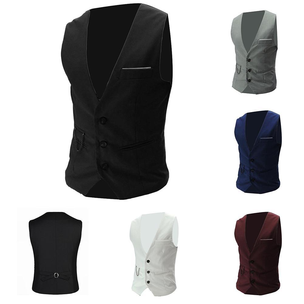 Fashion Plus Size Men Suit Vest Solid Color Men Slim Waistcoat Suit Vest Business For Men's Office Wedding Suit Vest