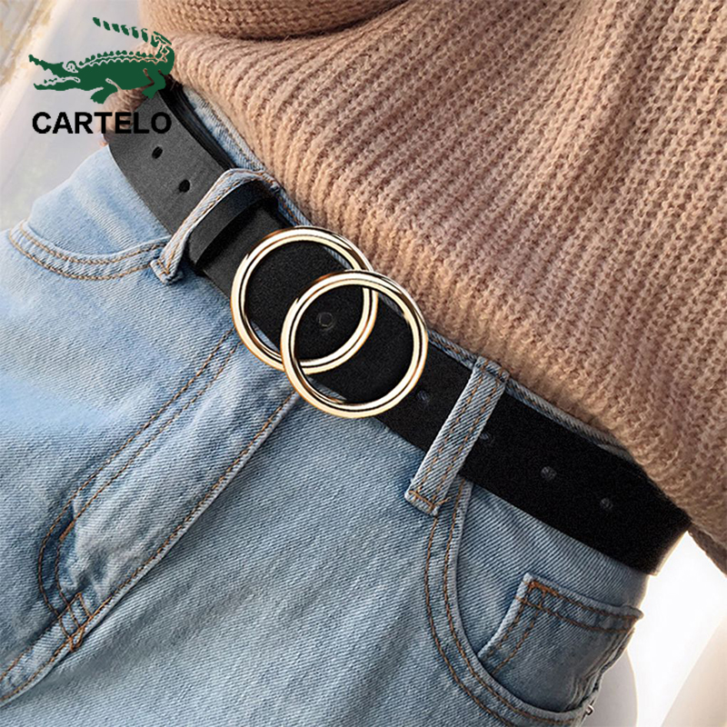 CARTELO дизайнерский известный бренд кожевенное высокое качество пояс мода сплав двойное кольцо круглая пряжка девушка джинсовое платье дикие ремни|Мужские ремни|   | АлиЭкспресс