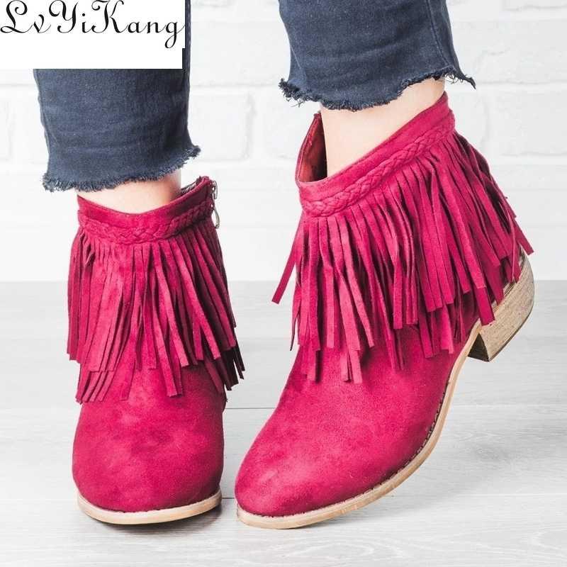 2019 Yeni Kadın Saçak yarım çizmeler Retro Katı Süet Düşük Topuk Kadın Sonbahar Fermuar Rahat Patik Ayakkabı Bayanlar 35-43