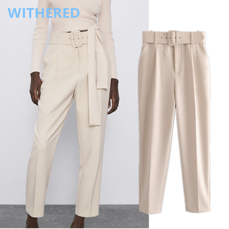 Withered England Style Office Lady Candy Solid Color High Waist Suits Pants Women Pantalones Mujer Pantalon Femme Trousers Women