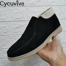 Men Loafers Shoes Slip-On Suede Classic High-Top Male New Patchwork Runway Round-Toe