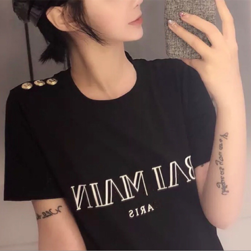 100% Cotton Women's Short Sleeve T Shirt Tops Letter Print O Neck Black White T Shirts Female 2020 Summer Brand Lady Tshirt P88|T-Shirts| - AliExpress