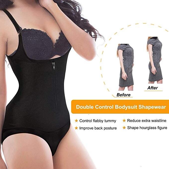 Image 3 - Bodysuit Shapewear Women Latex Waist Trainer Slim Zipper And Hook Shapewear Open Bust Corset Tummy Control Shaper TrimmerBodysuits   -