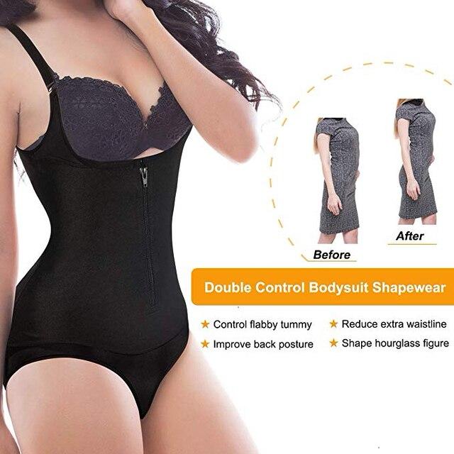 Bodysuit Shapewear Women Latex Waist Trainer Slim Zipper And Hook Shapewear Open Bust Corset Tummy Control Shaper Trimmer 2