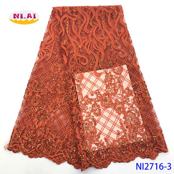 NIAI African Lace Fabric 2020 High Quality French Tulle Mesh Lace Fabric For Bridal Material Nigerian Sequence Lace NI2716-3