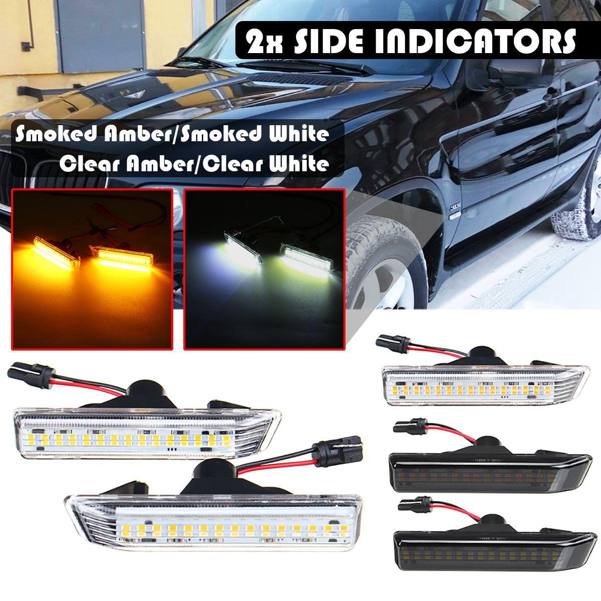 2pcs LED Side Marker Lights 12V Turn Signal Light Panel Lamp Blinker Side Indicator For BMW 3 SERIES E36 For Coupe X5 E53 00-06