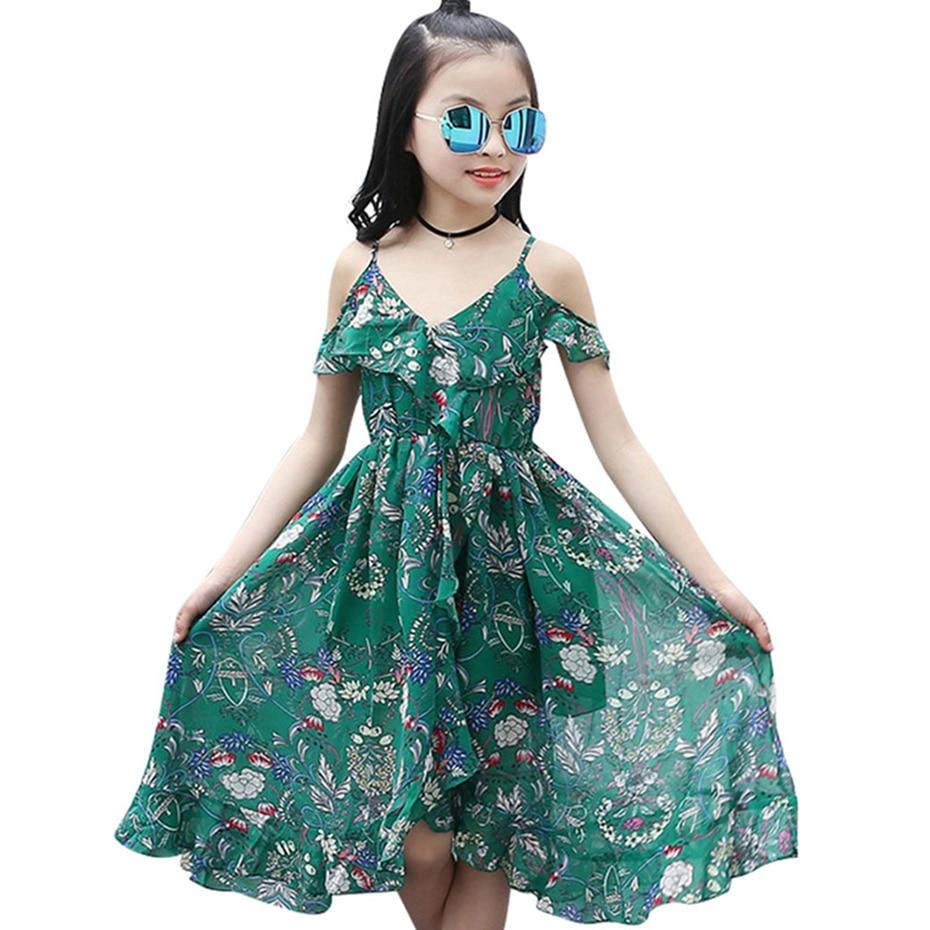 Платье Aixinghao для девочек, богемное летнее платье для девочек, повседневный пляжный сарафан для девочек, одежда для подростков 6, 8, 10, 12 лет, 2018