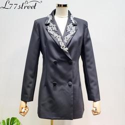 L77street Korea Heavy Industry Rhinestone Collar Wild Long Slim Suit Blazer Waist Spring Thin
