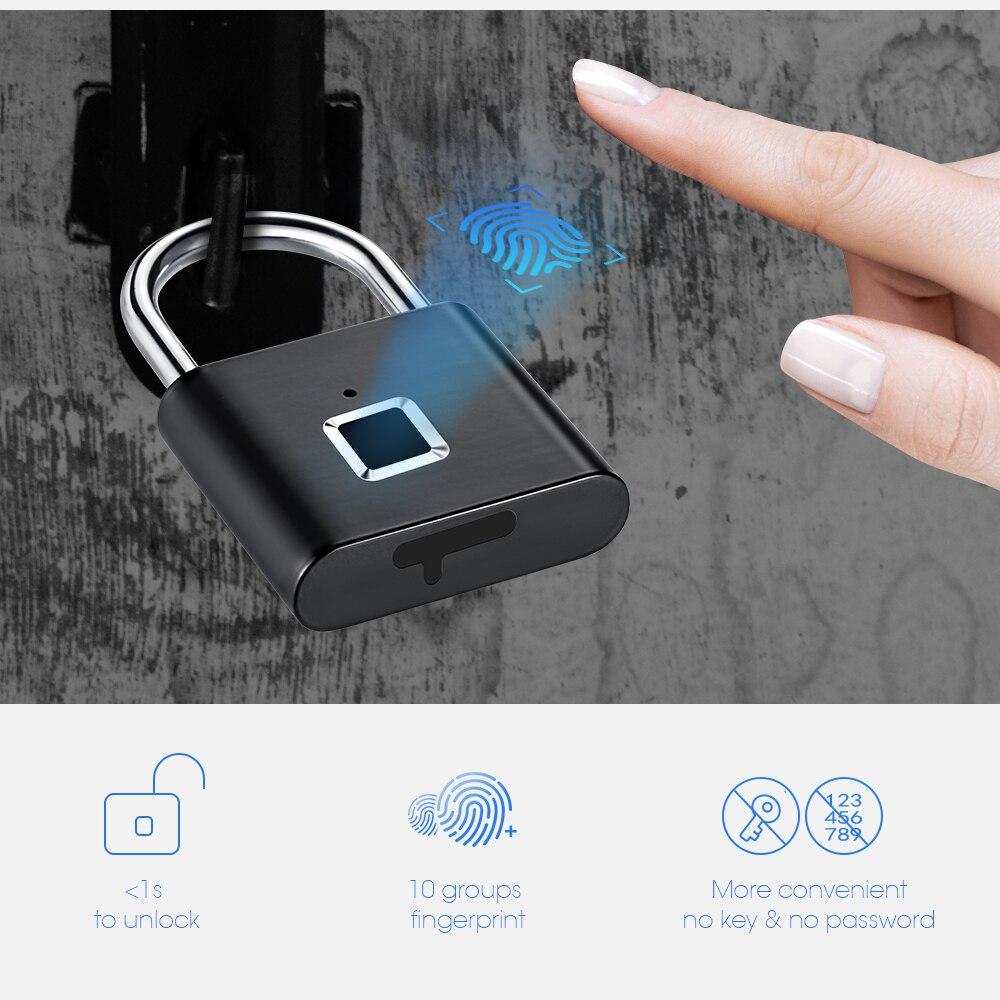 Serrure de porte Rechargeable USB sans clé de sécurité dorée cadenas intelligent d'empreintes digitales déverrouillage rapide en alliage de Zinc métal auto-développement puce