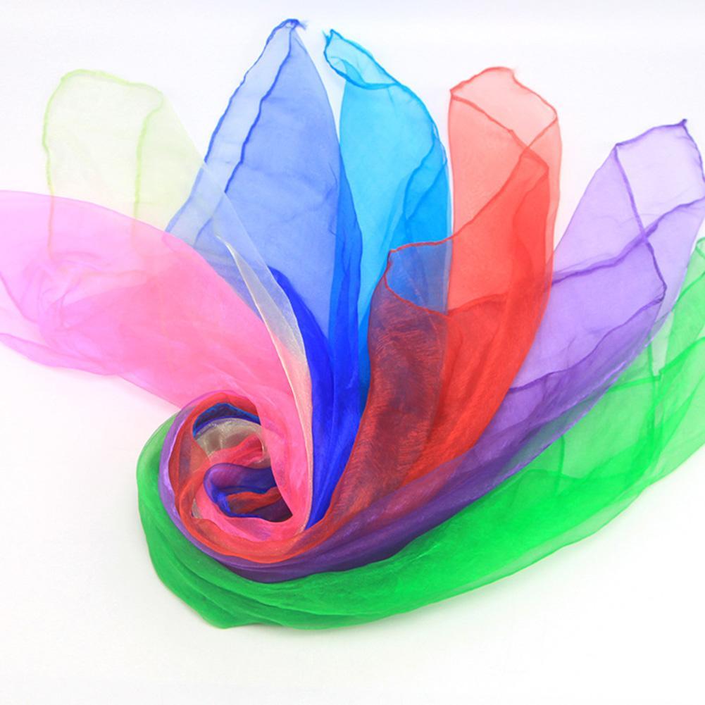 12Pcs Candy Color Square Artificial Silk Dance Scarves Magic Juggling Props
