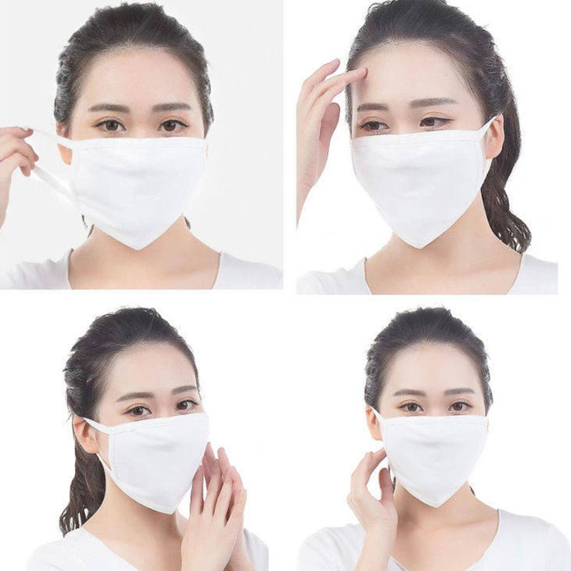 1pcs Women Men Solid Black White Color Cotton Masks Health Cycling Anti-Dust Mouth Masks Unisex Pollution Elastic Washable Mask