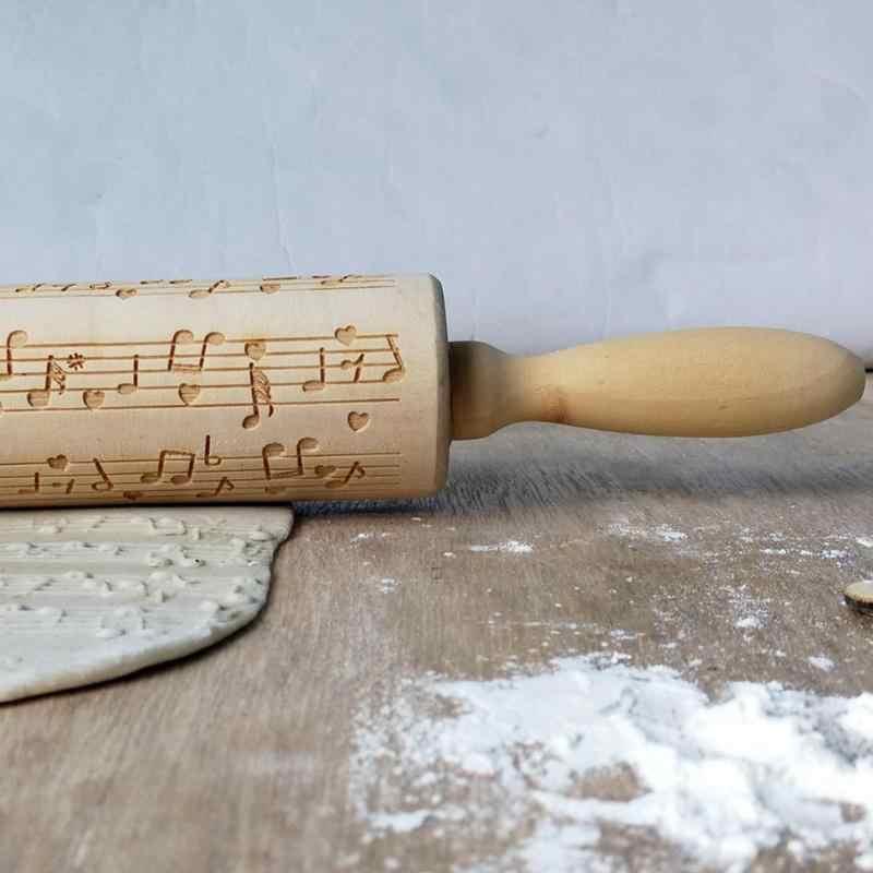 Nota musicale di Legno Goffratura di Rolling Spille FAI DA TE Biscotti di Cottura Inciso Stencil Di Natale Noodle Biscotto Della Torta di Pasta di Rotolamento Strumento