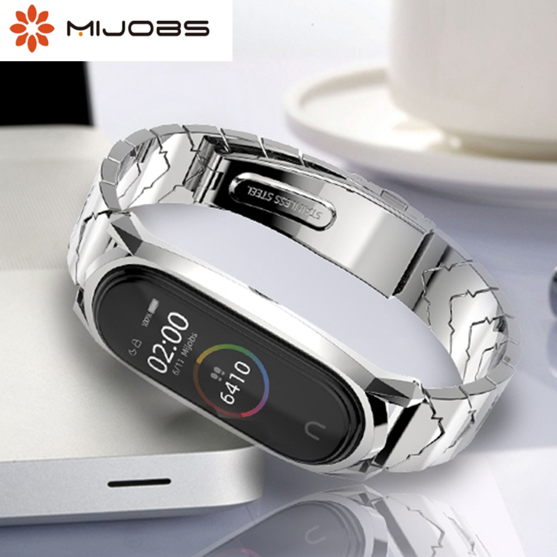 Mijobs Mi band 4 strap Metal For Xiaomi Mi Band 4 Stainless Steel Bracelet Mi Band 4 Wrist Straps Mi Band3 Wristband NFC Global-in Smart Accessories from Consumer Electronics