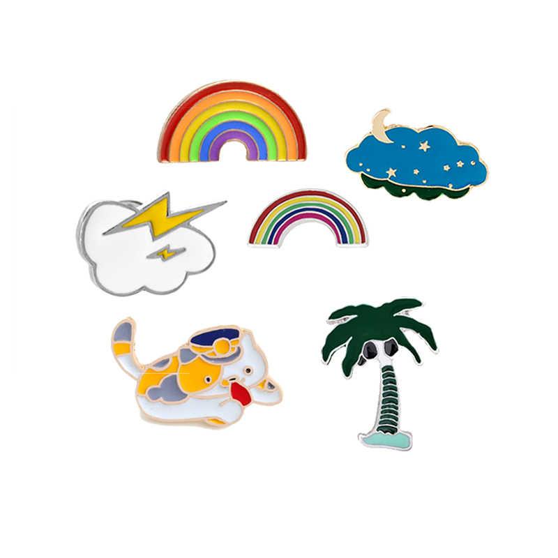 エナメル漫画猫虹木雲バッジブローチデニムコートシャツ Hat ラペルピンギフト子供のための女性ジュエリー