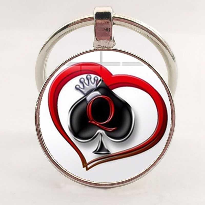 Recente tag secreto poker chaveiro espadas q rainha coração impresso vidro convexo efeito 3d pingente chaveiro jóias atacado